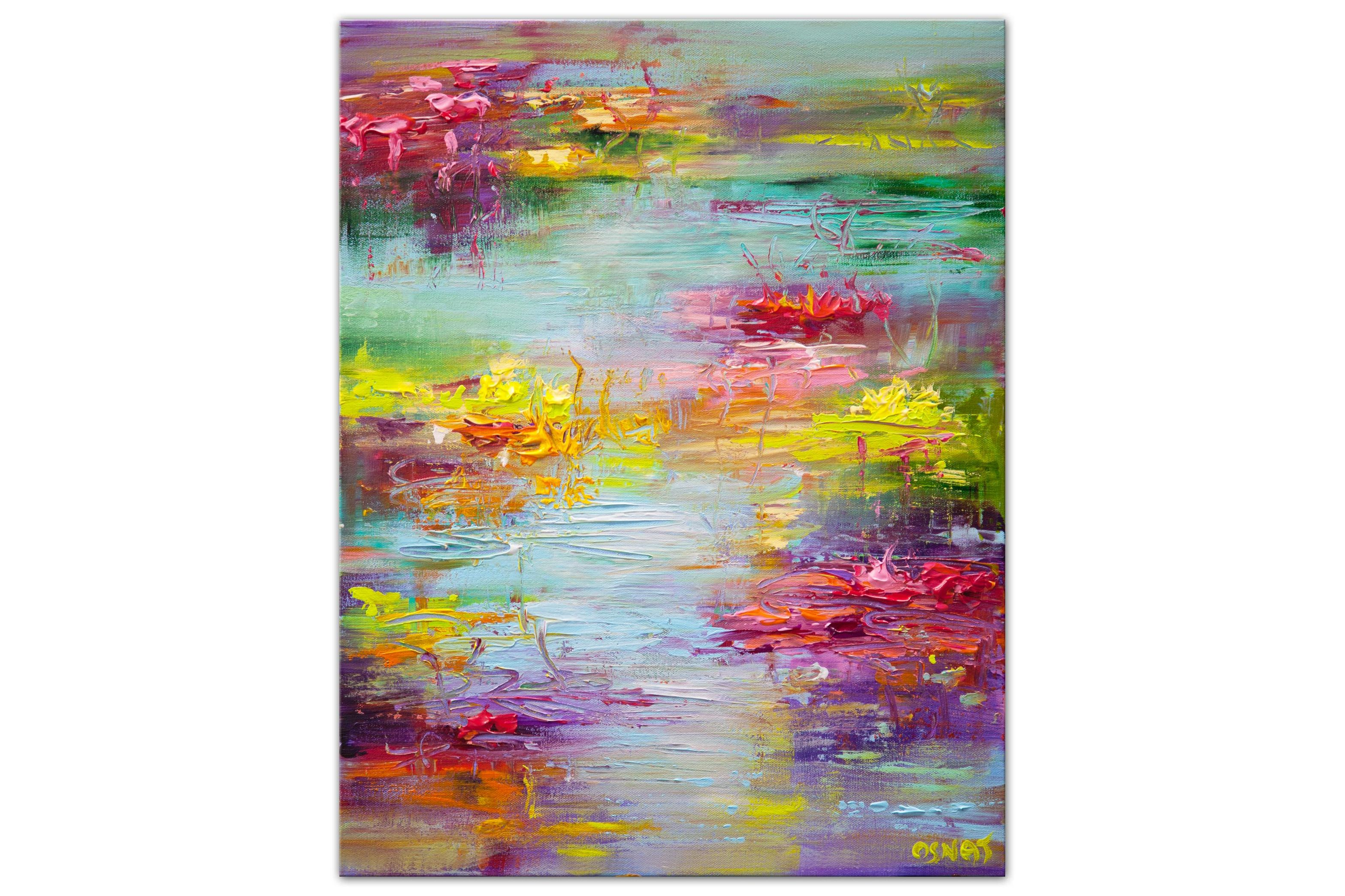 colorful modern pond with lily pads painting