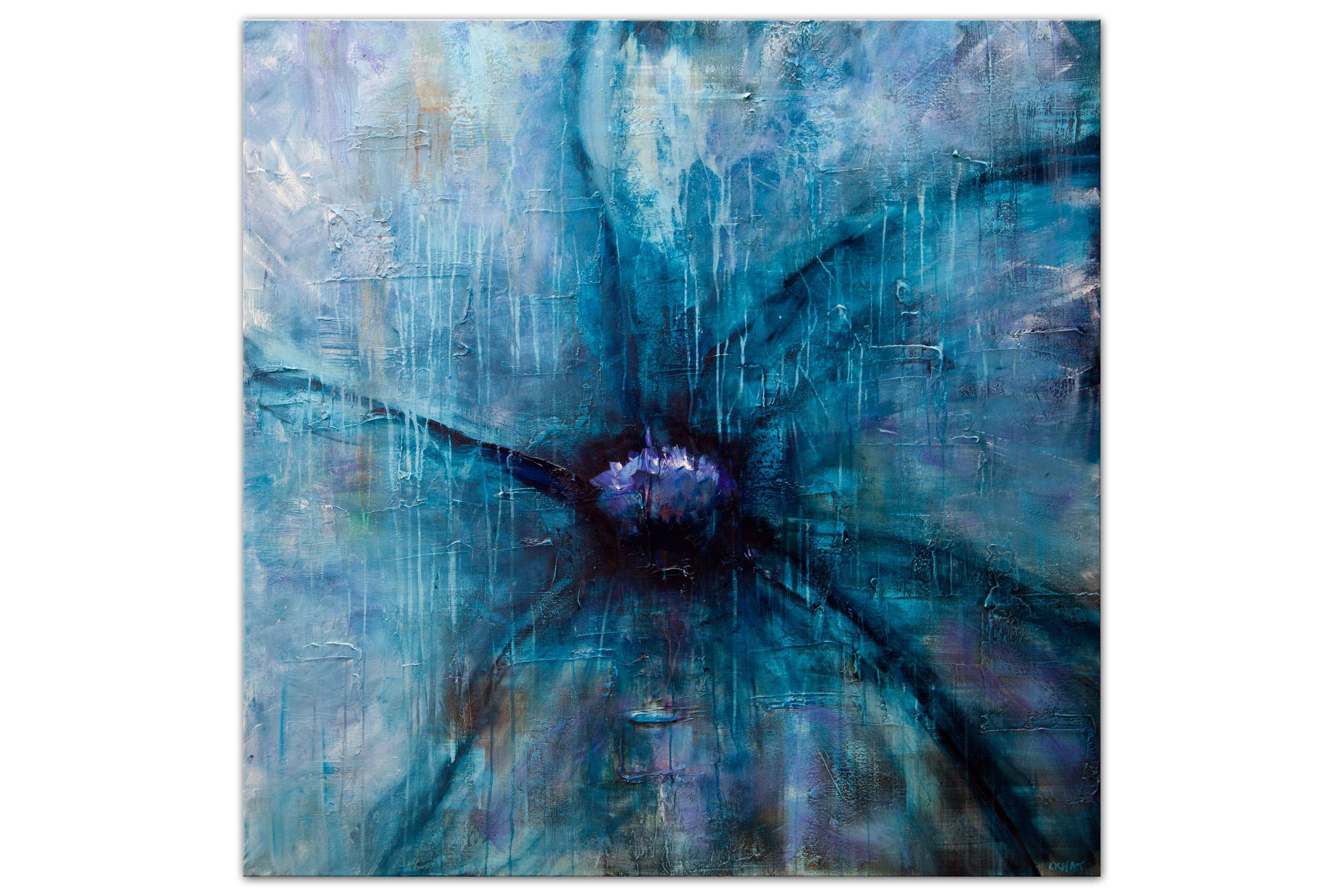 Painting For Sale Big Modern Blue Flower Painting 9763