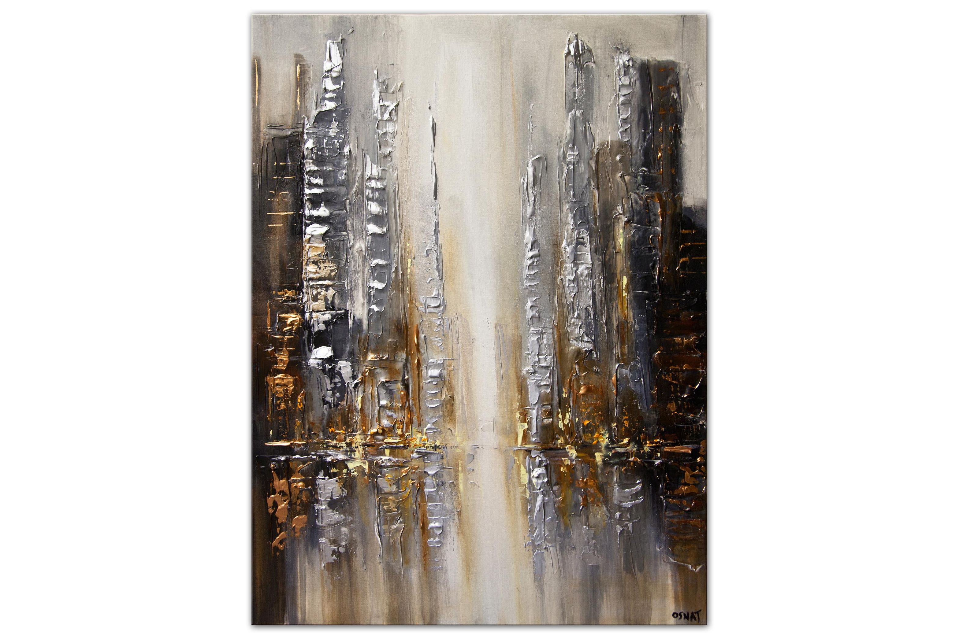 modern city abstract painting silver and gold