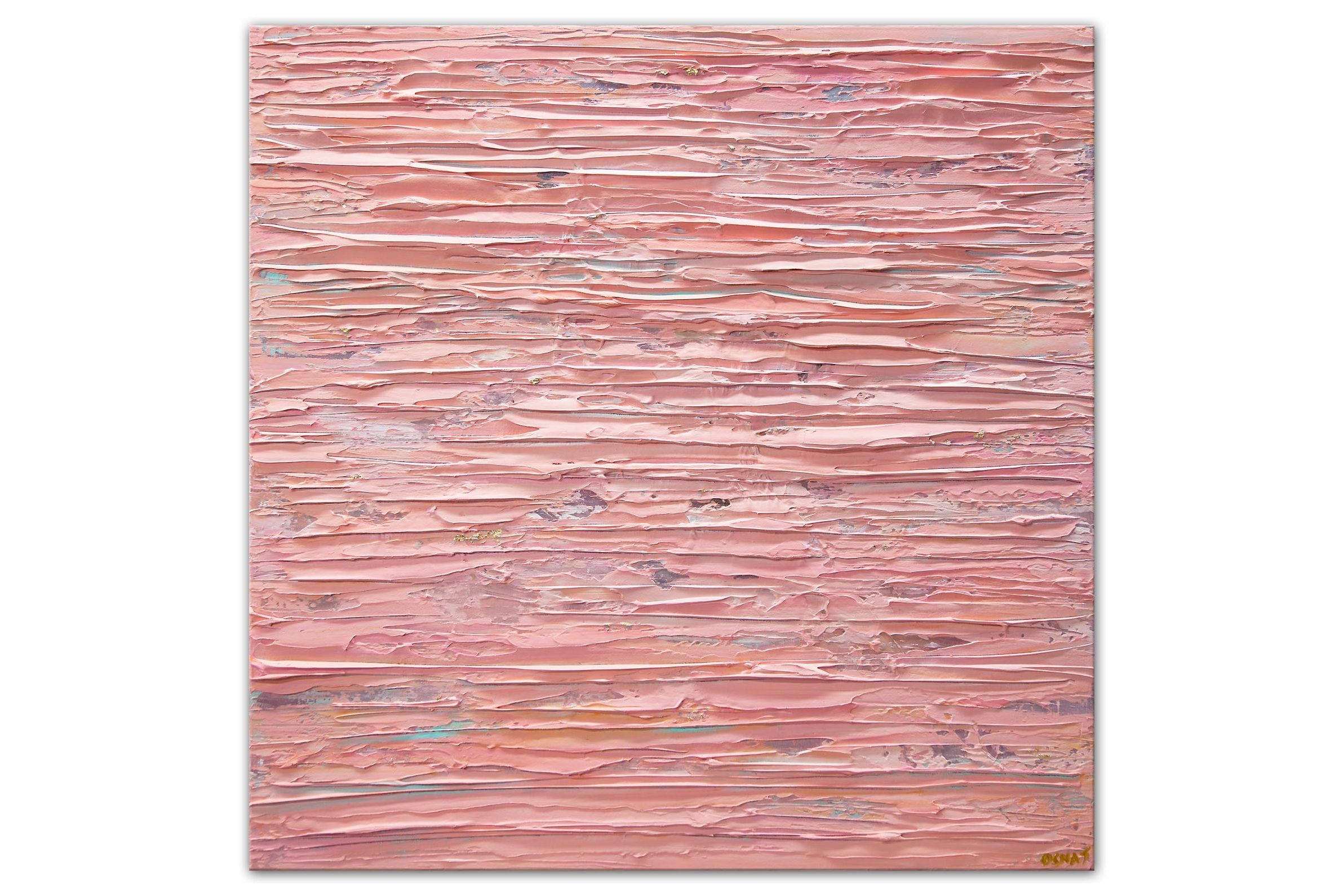 pink gold heavy texture abstract painting