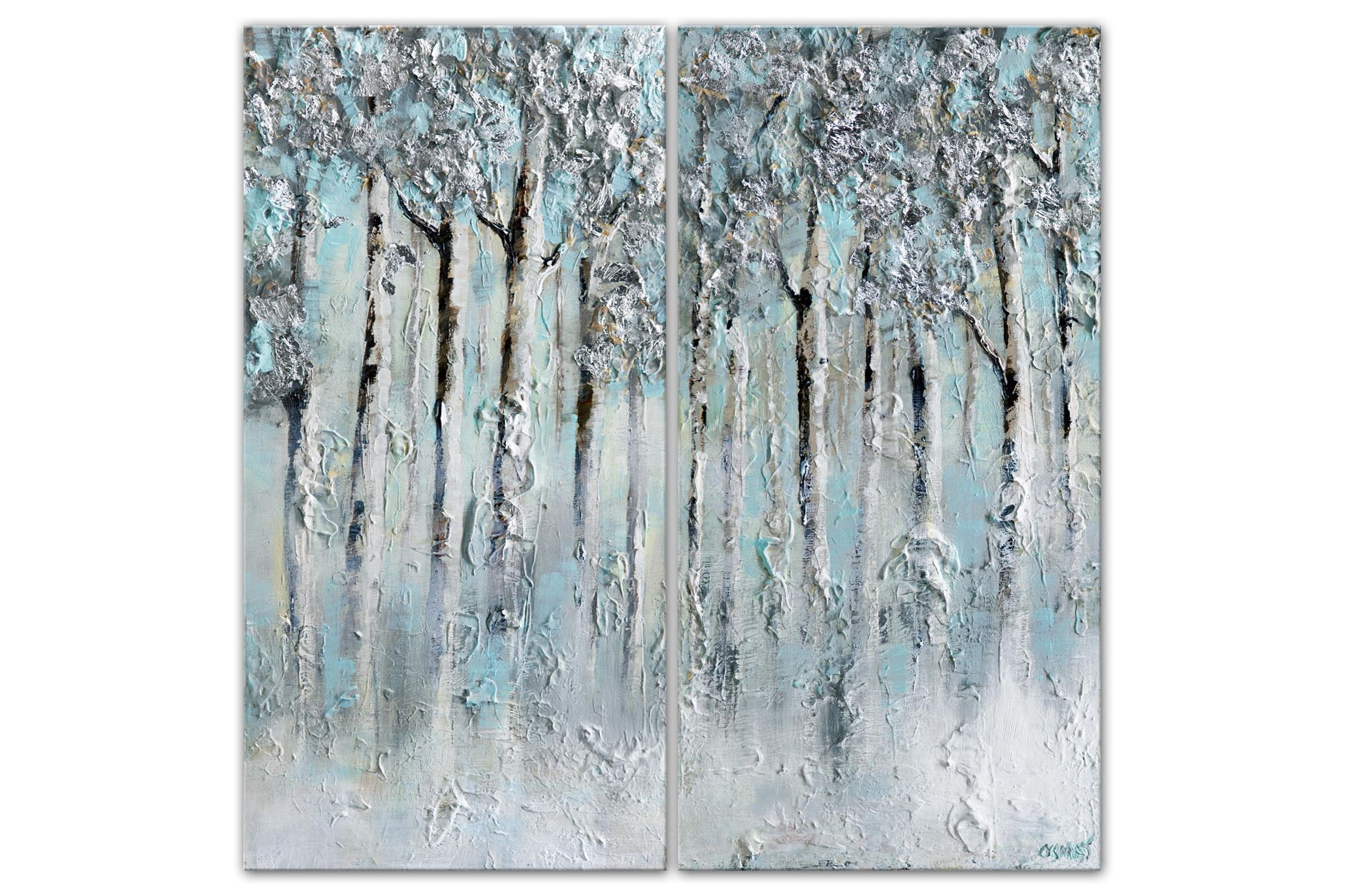 textured modern silver forest abstract painting