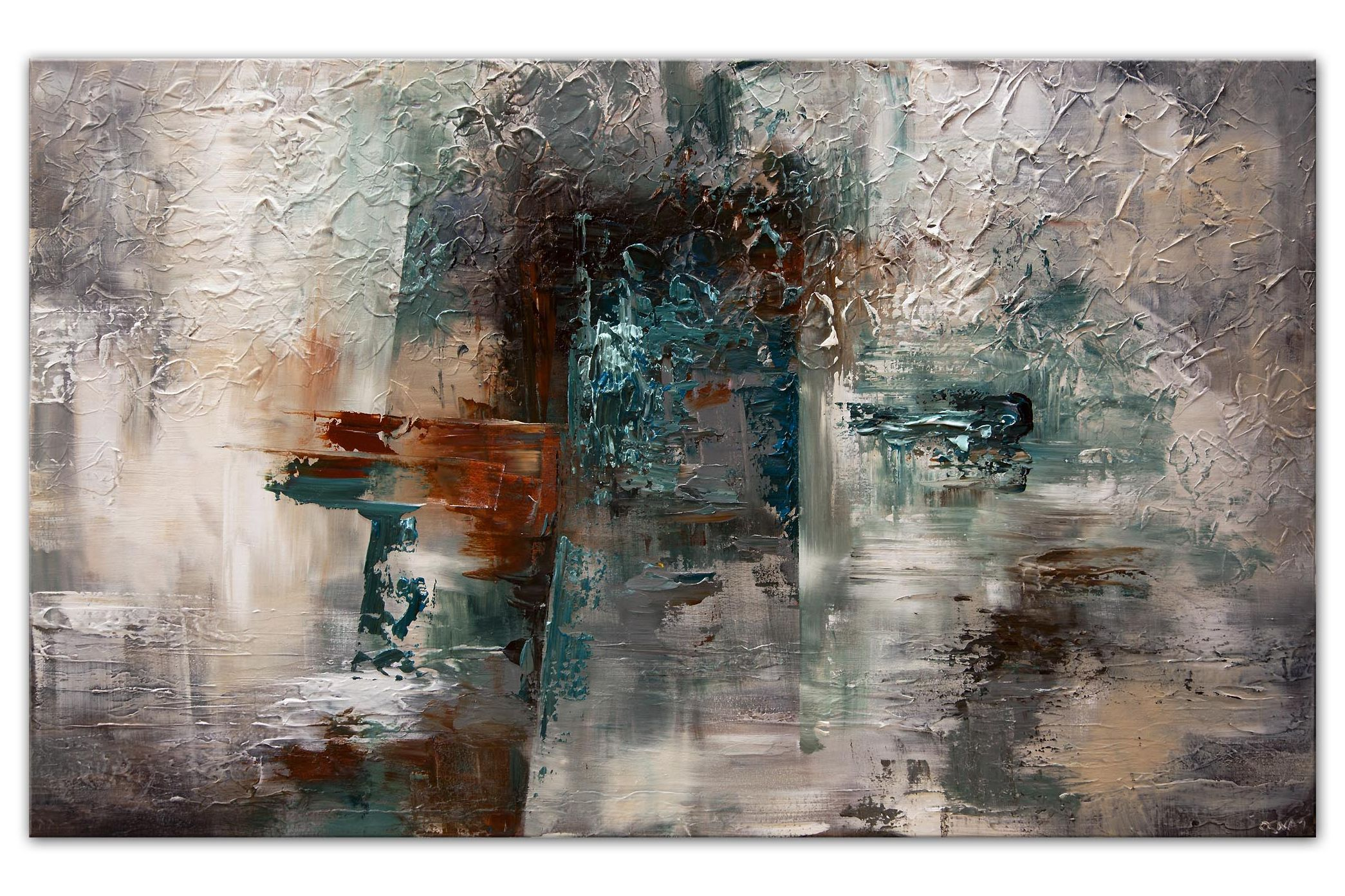 large modern textured teal gray abstract art