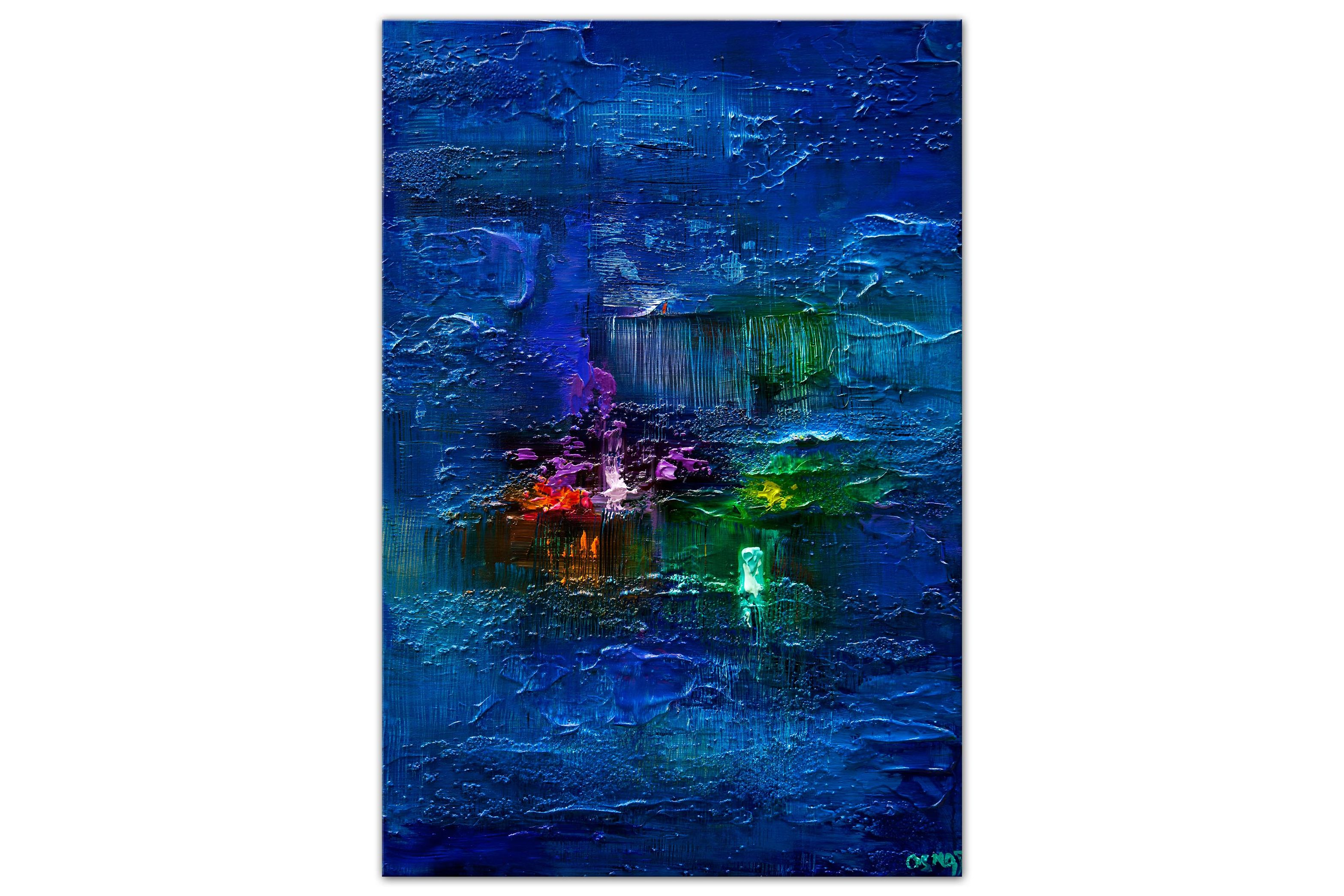 modern textured blue abstract painting