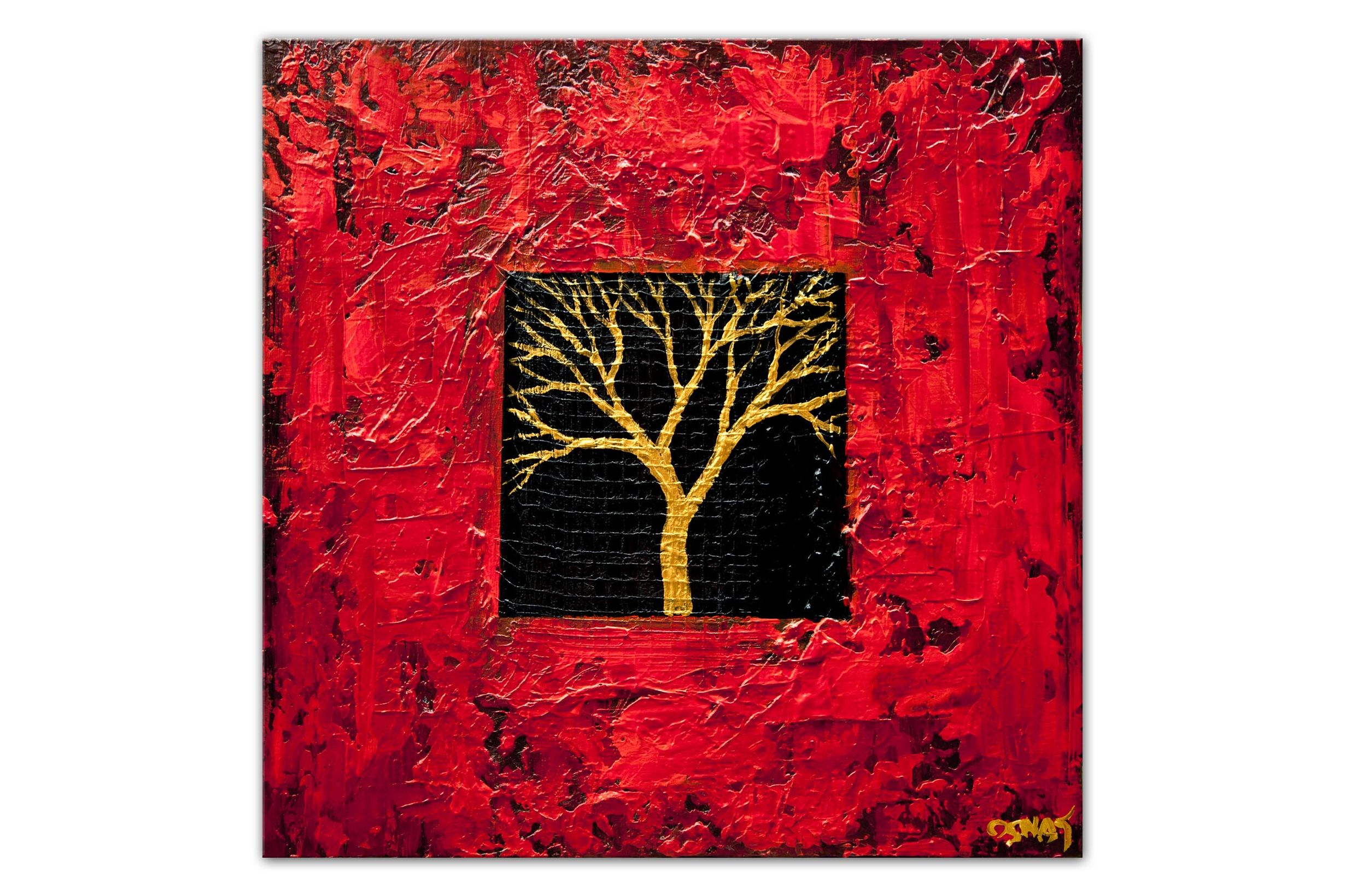 modern gold red tree abstract painting