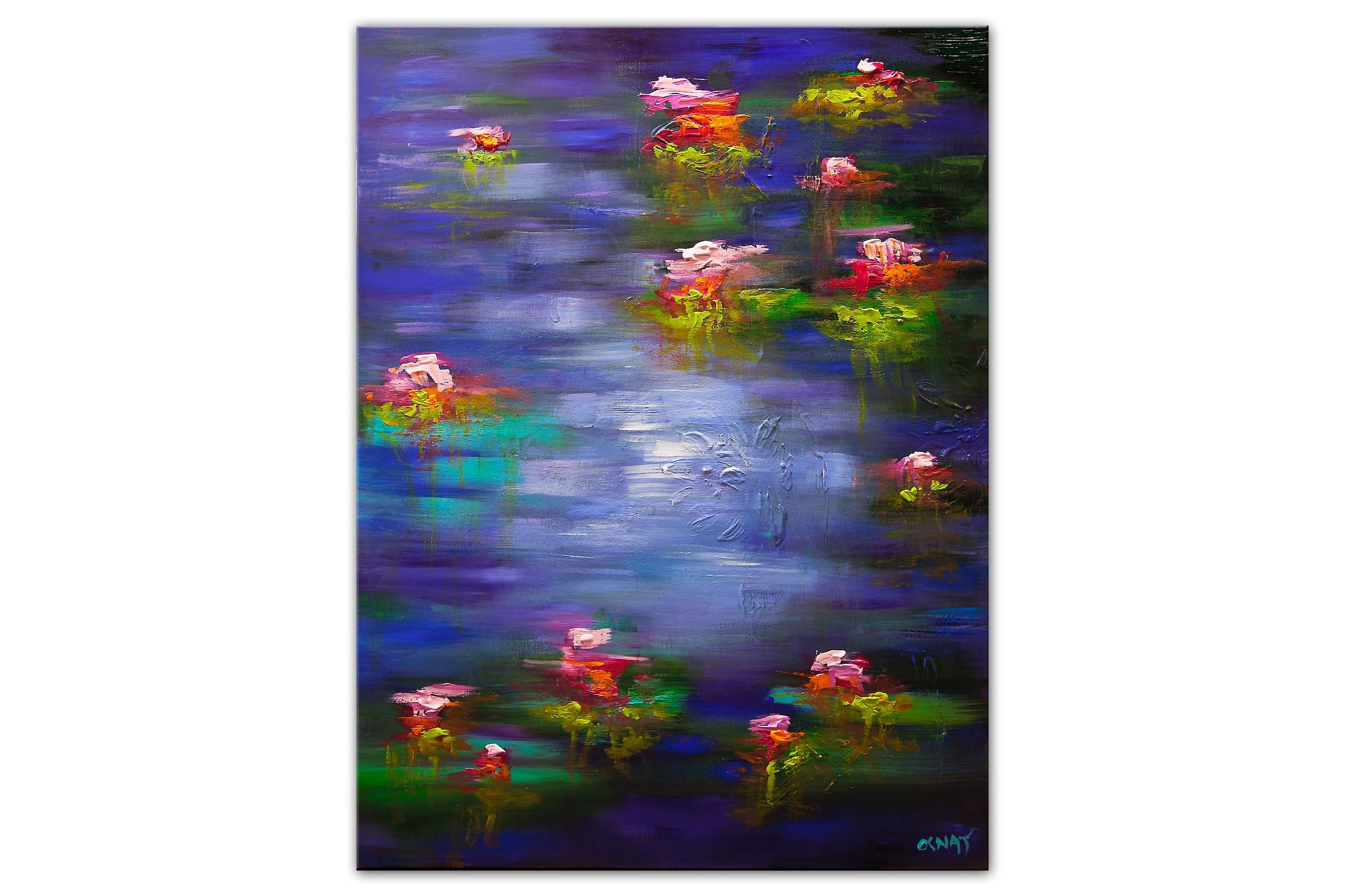 blue purple lily pads in a pond painting