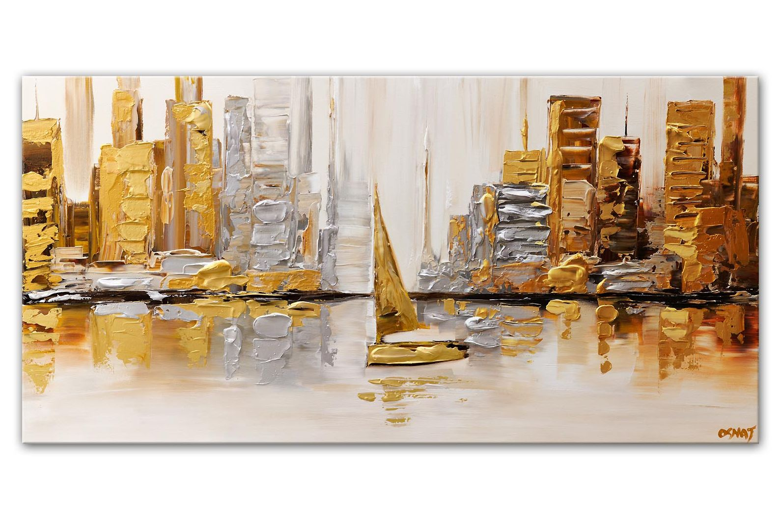 gold silver sailboat city abstract painting