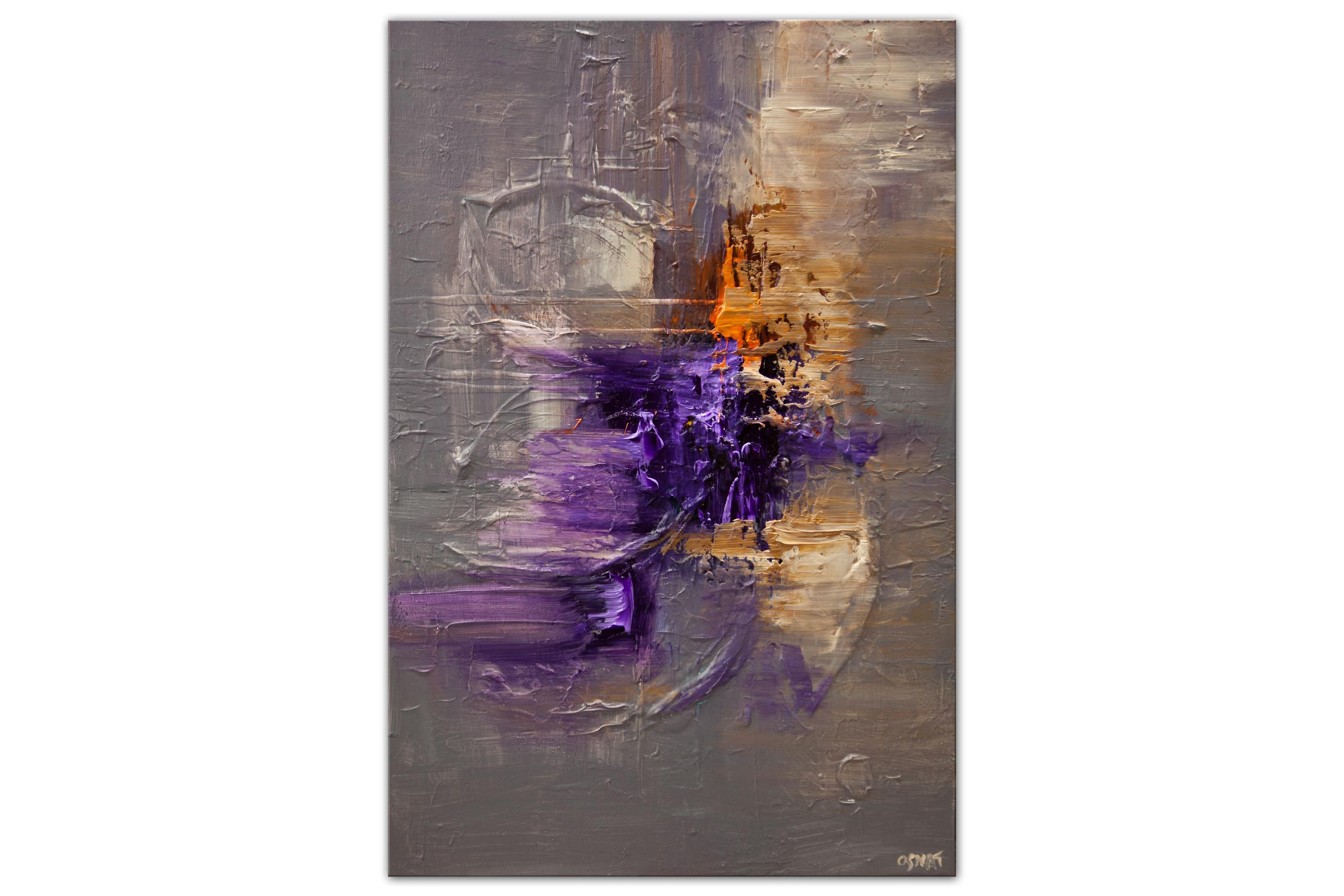 purple gray modern abstract painting heavy texture