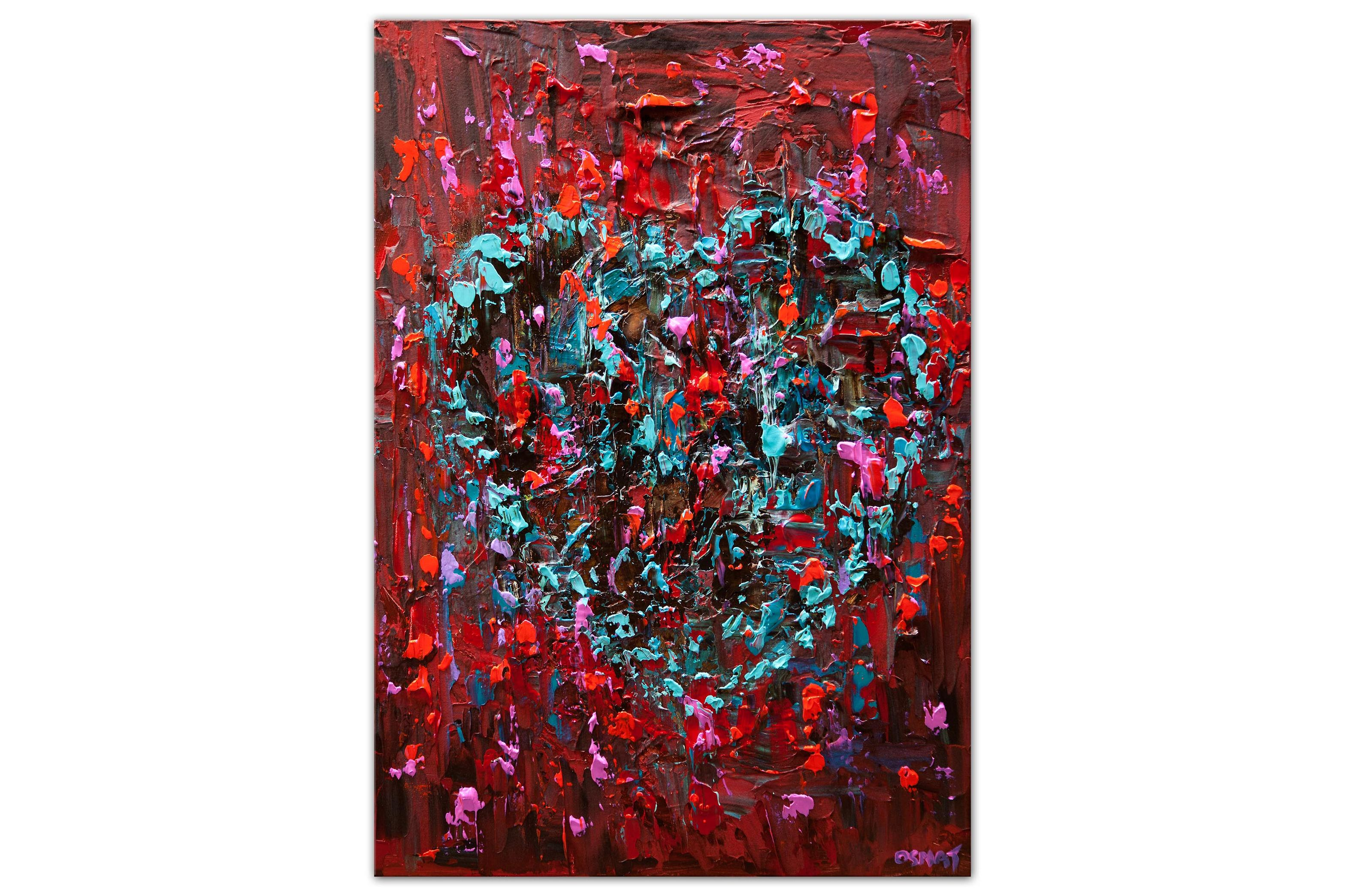 modern abstract red turquoise heart painting