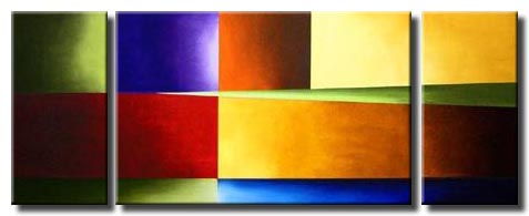 triptych abstract solid colors