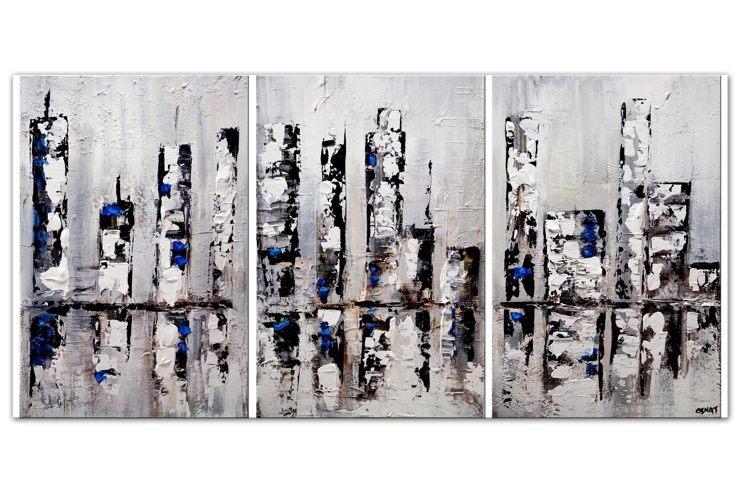 textured downtown abstract painting modern streets painting