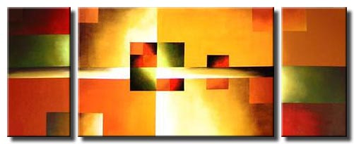 triptych canvas bright geometric painting