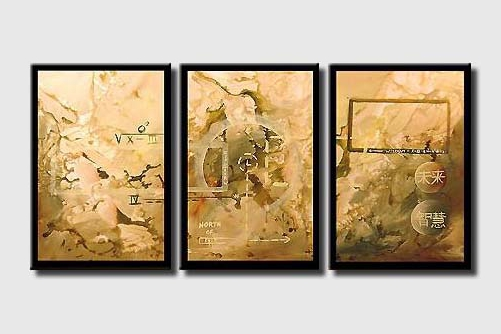 triptych abstract beige tones large art
