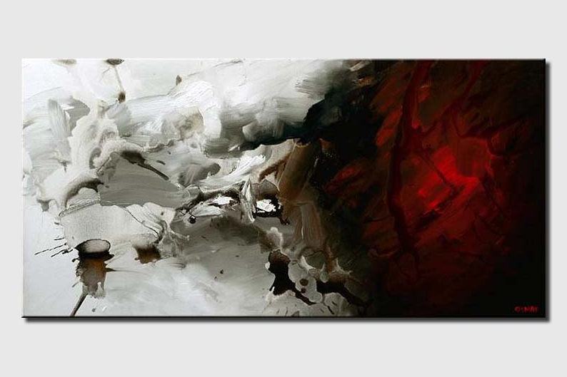 red and white abstract modern painting