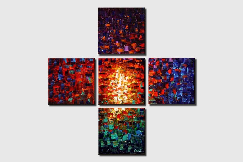 abstract painting of squares in red and blue