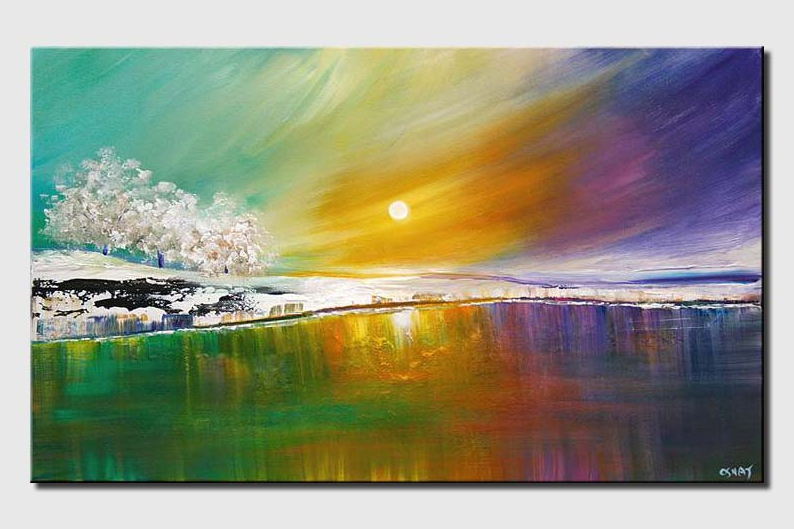 modern landscape art lake trees and colorful sky