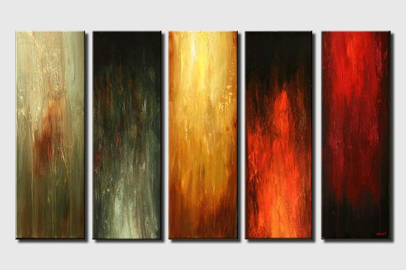 five canvases abstract art solid colors