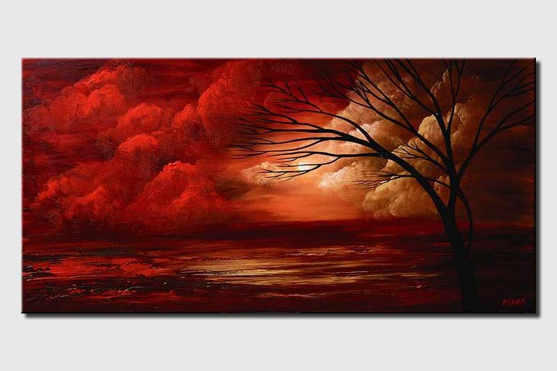 landscape painting of red clouds tree