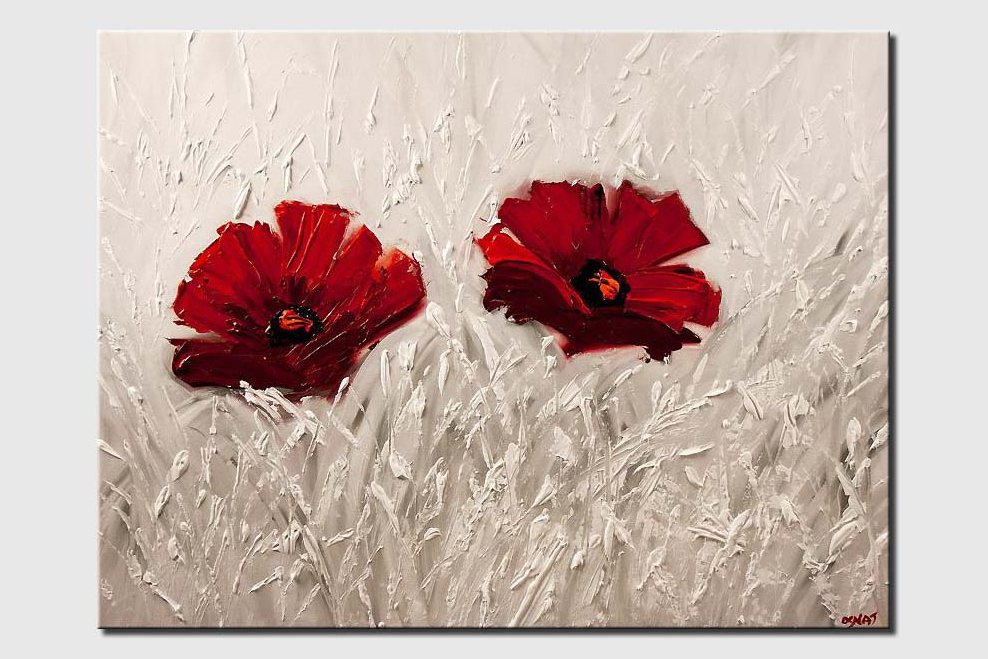 red flowers painting on white background