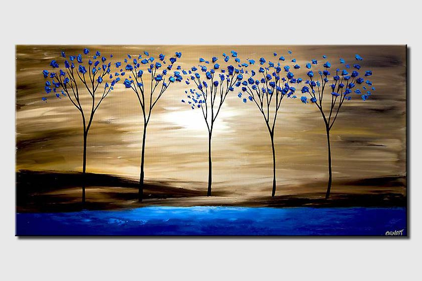 Blue blooming trees on Blue Lake
