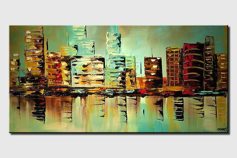Modern palette knife turquoise city painting