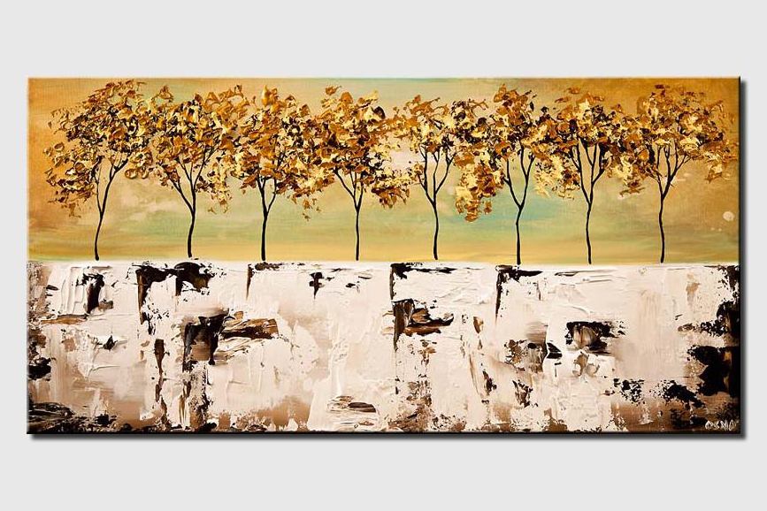 abstract landscape blooming trees palette knife