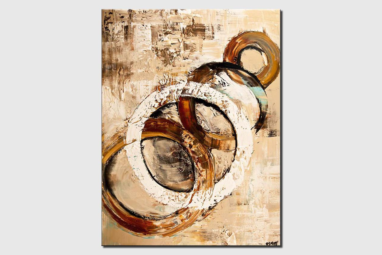 original abstract art white circle painting modern palette knife