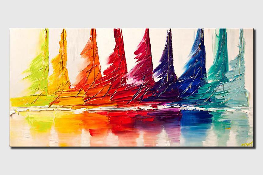 colorful sail boats seascape abstract painting