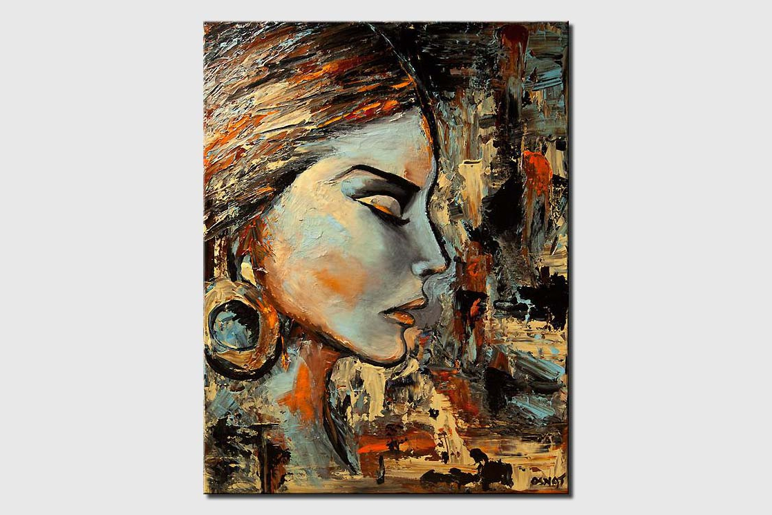 modern abstract portrait palette knife painting