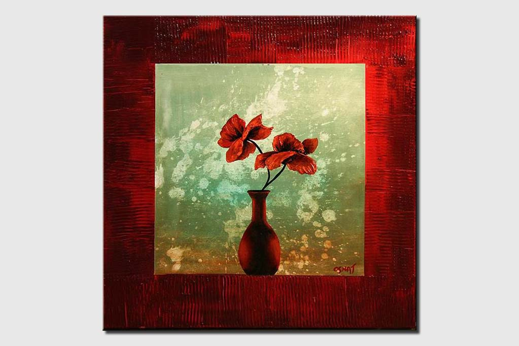 red vase and flowers in red frame