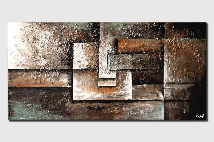 abstract painting of squares in earth tones