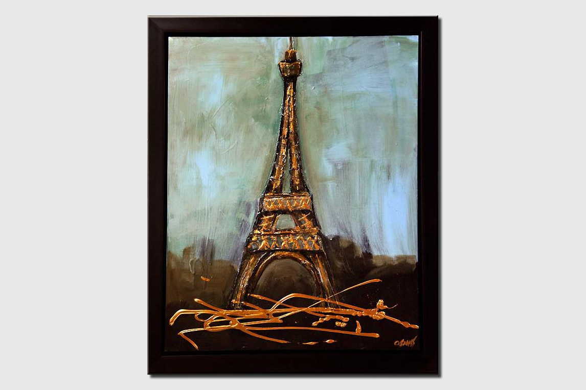 Eiffel tower abstract painting framed