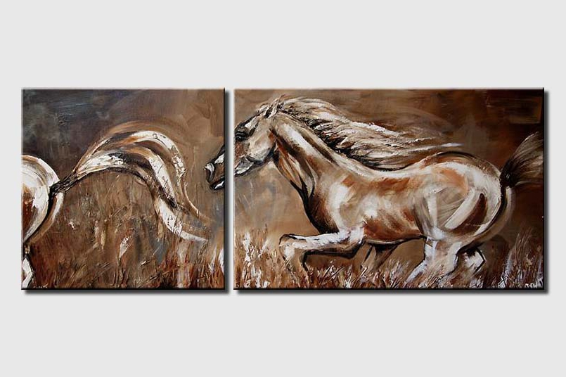 diptych of horses running