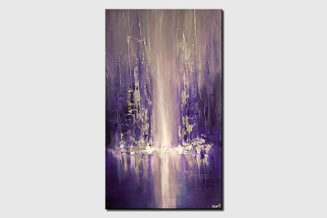 canvas print of modern city painting blue purple palette knife