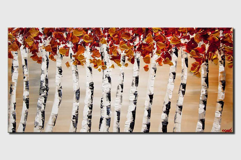 blooming birch trees white abstract landscape textured