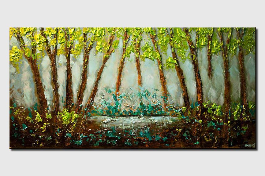 Textured landscape abstract blooming trees green blue painting