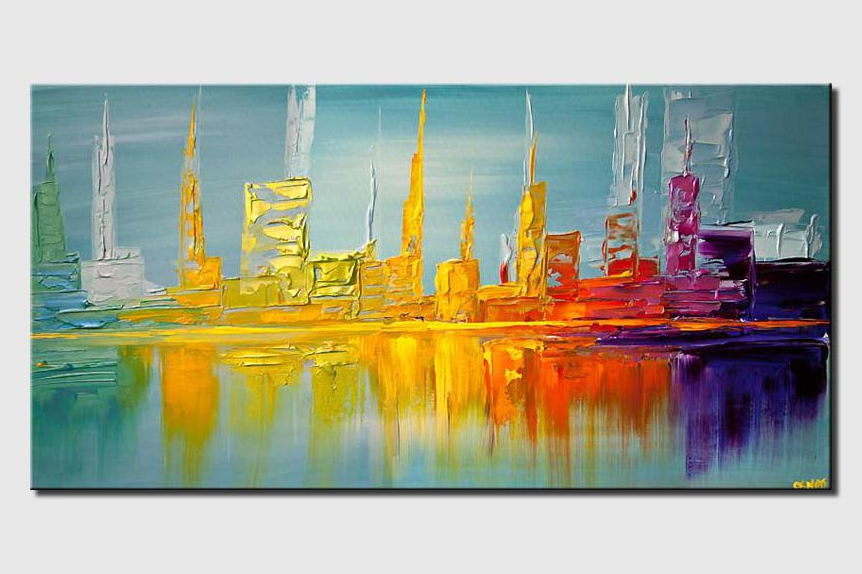 city shore line abstract painting modern palette knife