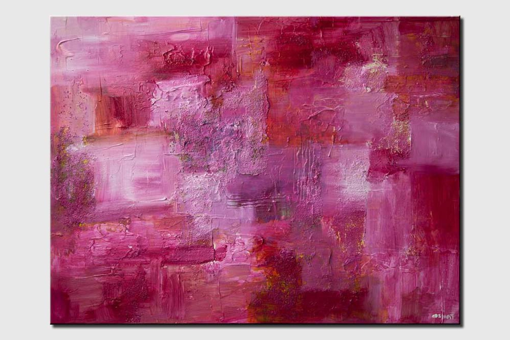 pink abstract painting textured modern contemporary palette knife