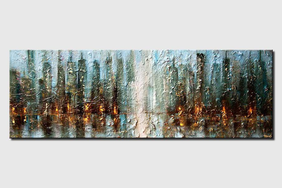 original contemporary abstract city painting modern palette knife