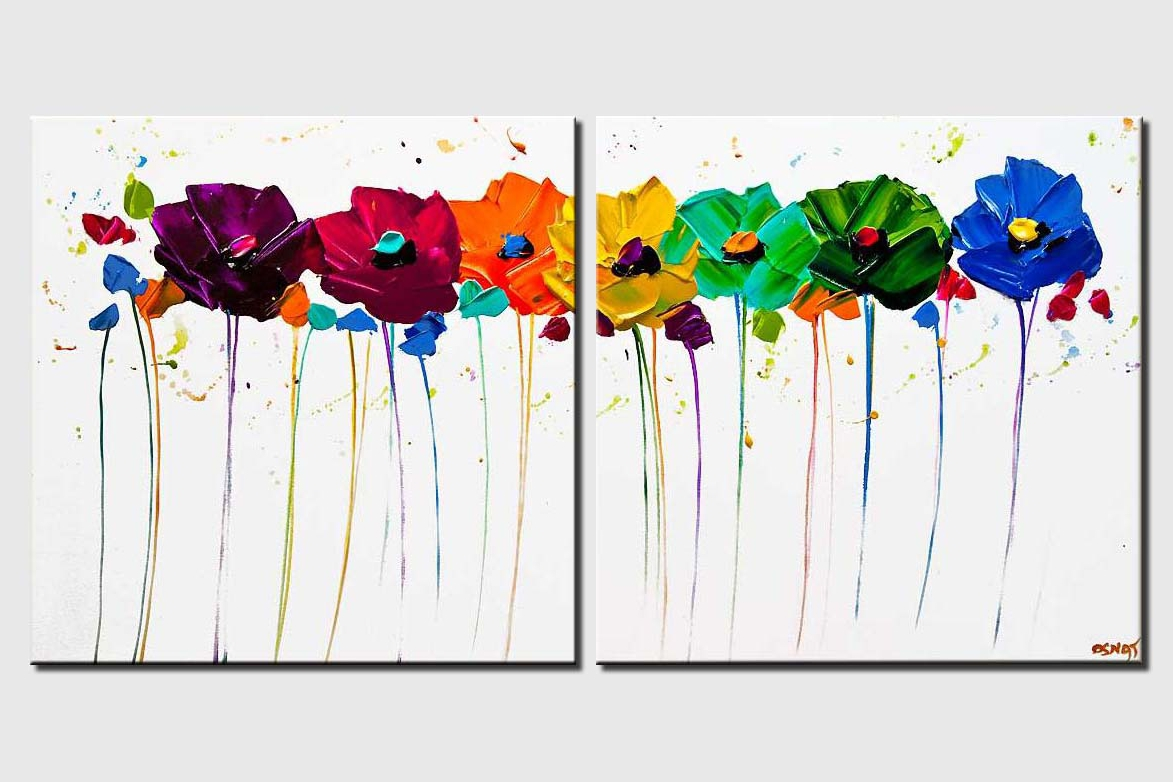 colorful flowers white background textured painting