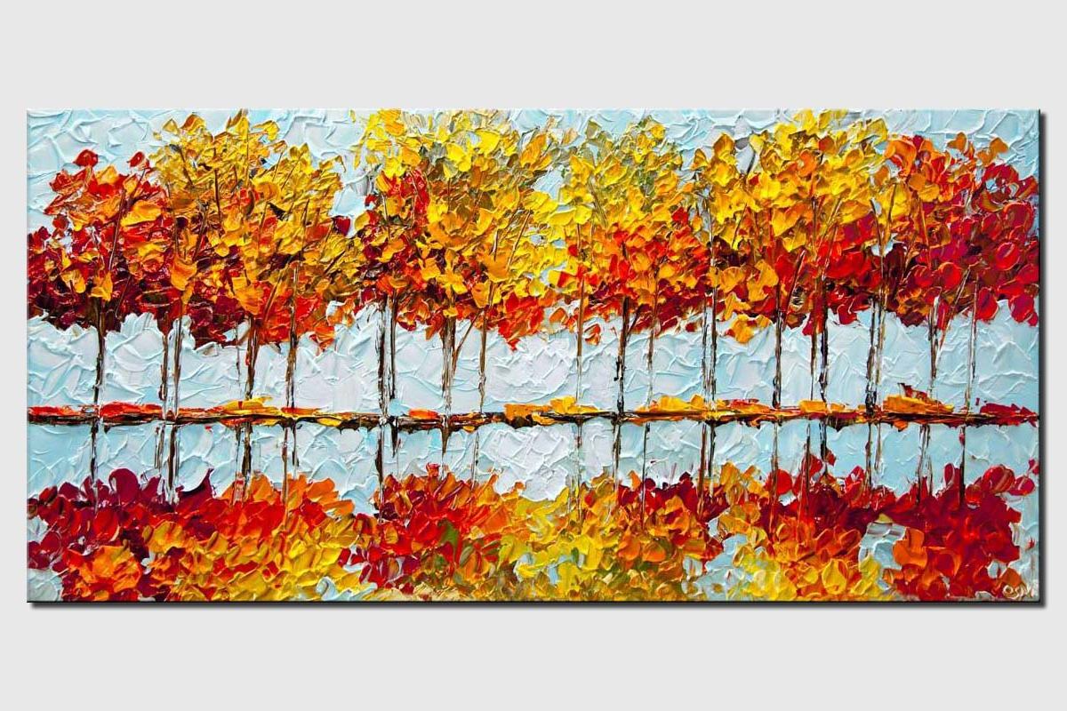 indian summer painting modern palette knife blooming trees