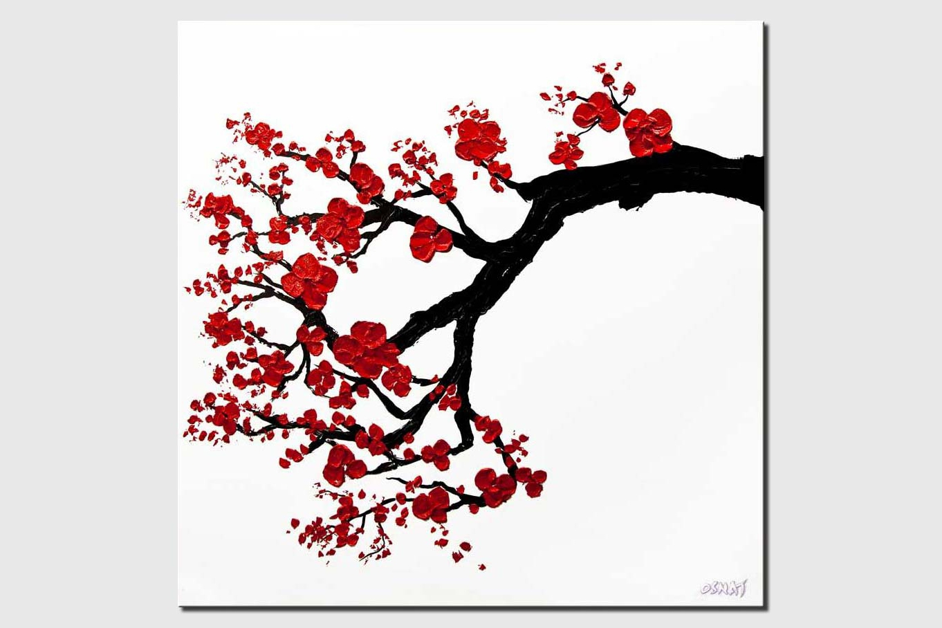 modern textured red blossom tree painting