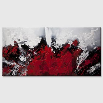 red abstract painting dark white background art