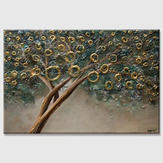 rust gold abstract tree painting heavy texture