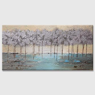 modern silver blooming trees painting by the river bank