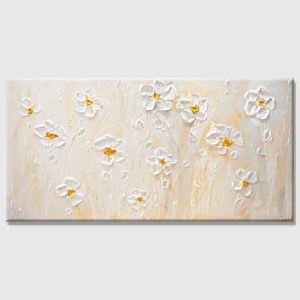 Modern Daisy Flowers Floral Painting Palette Knife