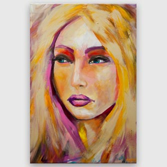 modern colorful woman portrait painting