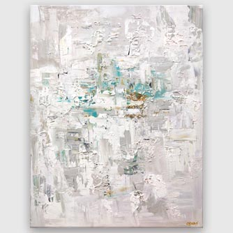 white gray abstract art with gold