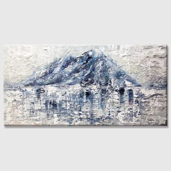 white blue abstract mountain painting with heavy texture