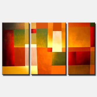 triptych canvas red squares