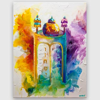 colorful Judaica painting Sefer Torah painting